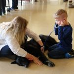 Child and Vet listening to dogs heart beat
