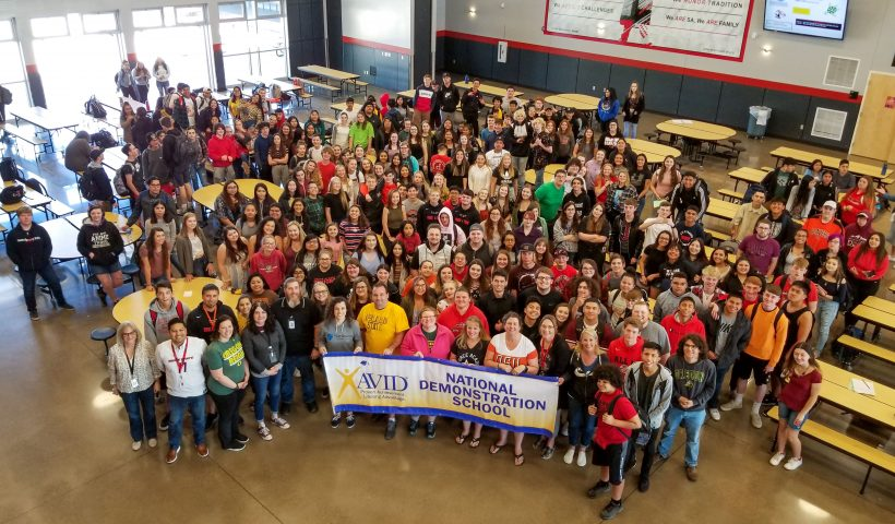 Students, teachers, and staff gather to celebrate SAHS becoming the first AVID demonstration high school in Oregon.