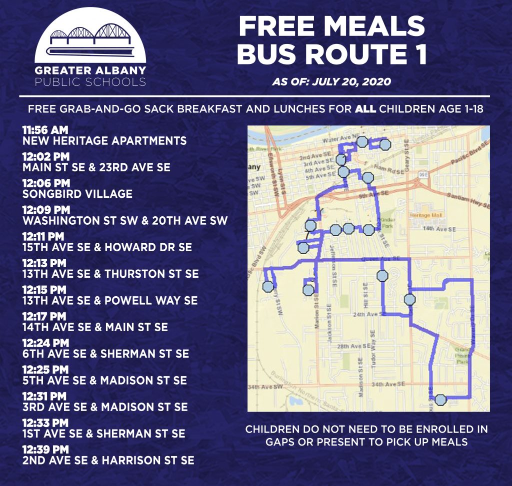 Free Meals Bus 1 times and map