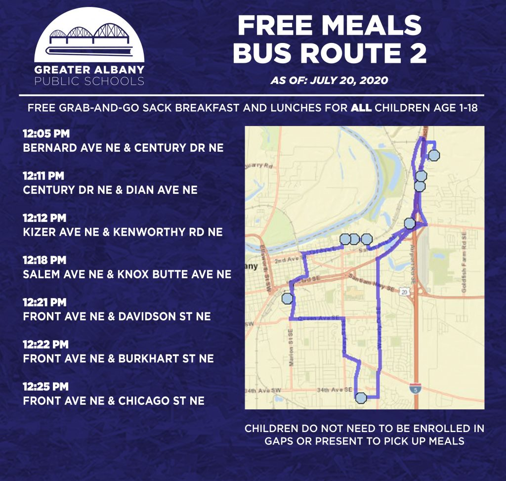 Free Meals Bus 2 times and map