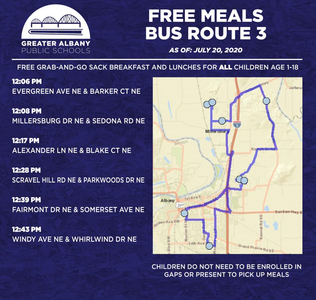Free Meals Bus 3 times and map